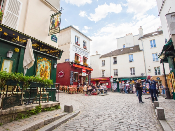 Paris, France - May 14, 2014: The Montmartre is a large hill in Paris's 18th arrondissement. It is 130 metres high and gives its name to the surrounding district, part of the Right Bank in the northern section of the city.